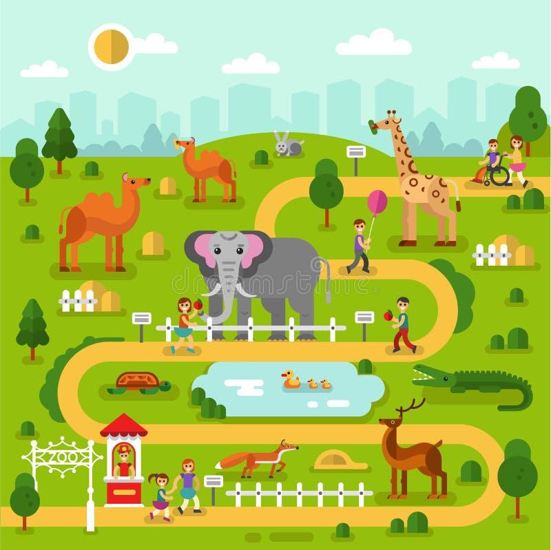 Χάρτης ζωολογικών κήπων διανυσματική απεικόνιση