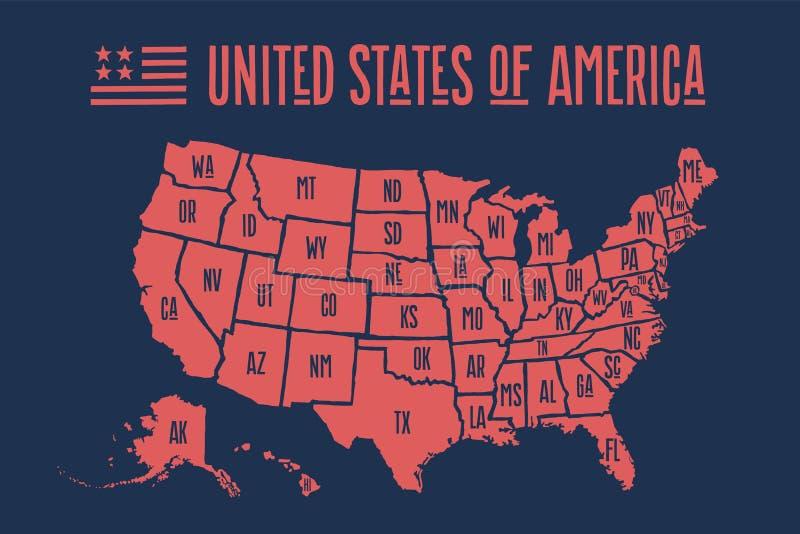 Χάρτης Ηνωμένες Πολιτείες της Αμερικής αφισών με τα κρατικά ονόματα διανυσματική απεικόνιση