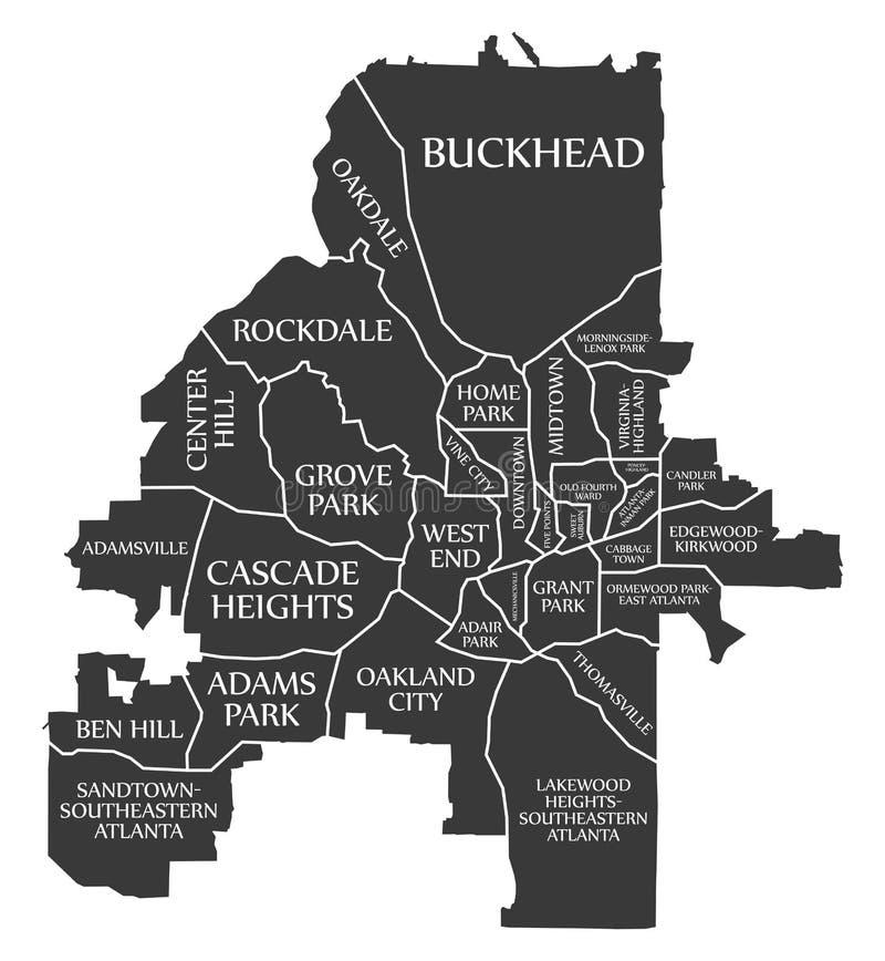Χάρτης ΗΠΑ πόλεων της Ατλάντας Γεωργία επονομαζόμενος τη μαύρη απεικόνιση απεικόνιση αποθεμάτων