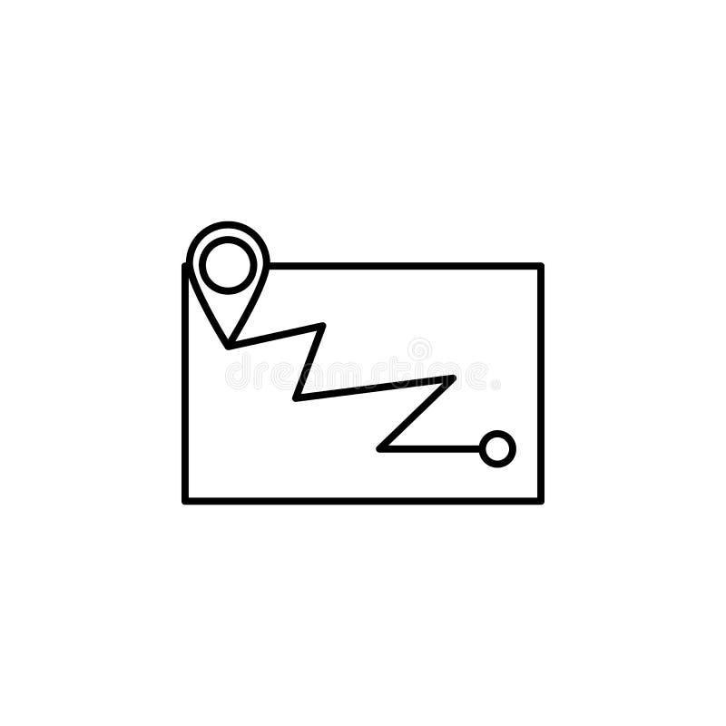 Χάρτης, θέση, εικονίδιο περιλήψεων ναυσιπλοΐας Στοιχείο της απεικόνισης χειμερινού αθλητισμού Το εικονίδιο σημαδιών και συμβόλων  διανυσματική απεικόνιση