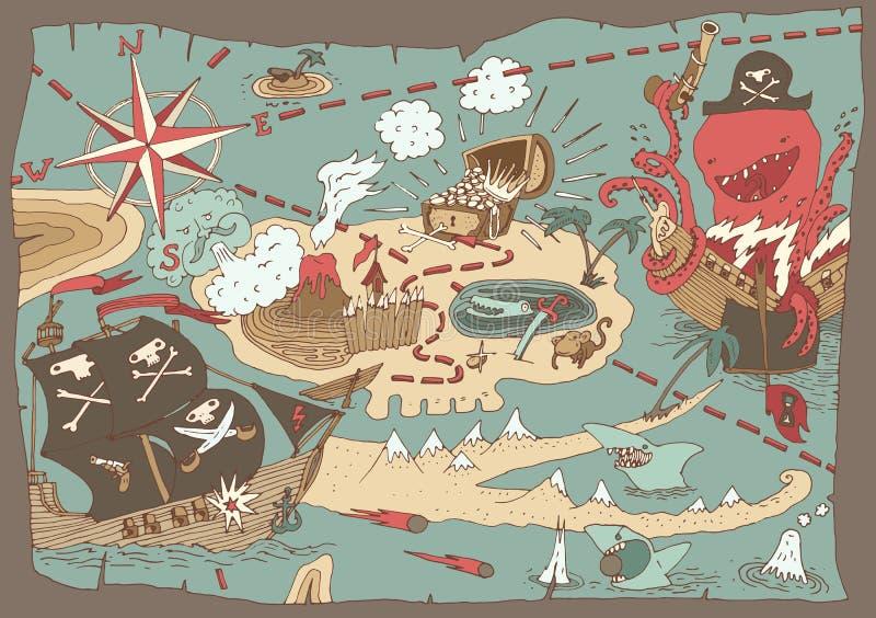 Χάρτης θησαυρών νησιών, χάρτης πειρατών, απεικόνιση διανυσματική απεικόνιση