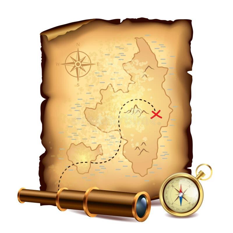 Χάρτης θησαυρών πειρατών με το τηλεσκόπιο και την πυξίδα ελεύθερη απεικόνιση δικαιώματος