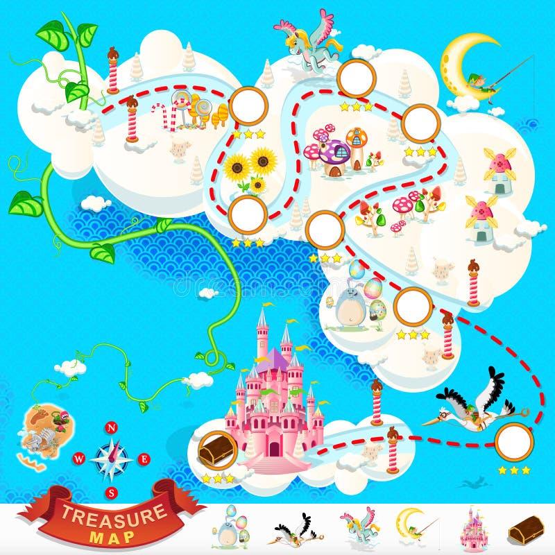 Χάρτης θησαυρών πειρατών – ουρανός Castle διανυσματική απεικόνιση