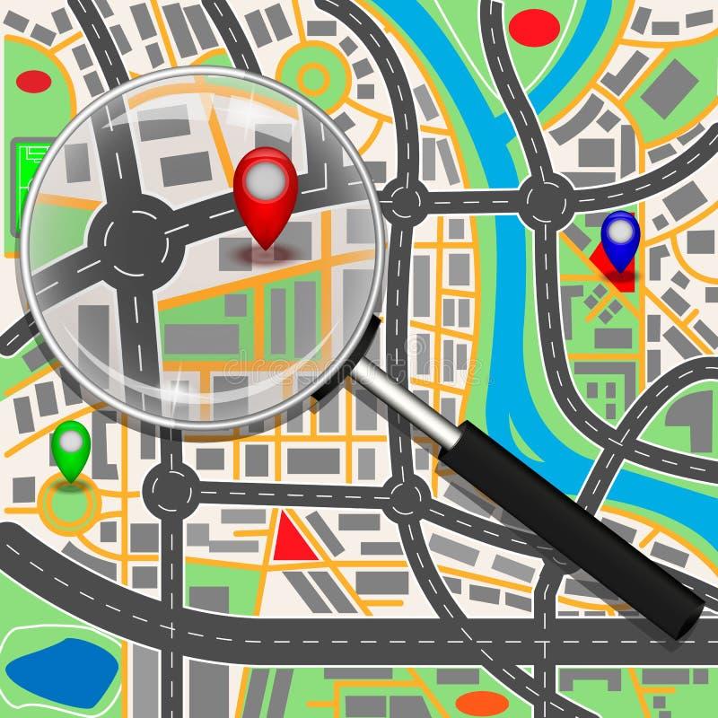 Χάρτης κάτω από μια ενίσχυση - γυαλί στοκ εικόνα με δικαίωμα ελεύθερης χρήσης