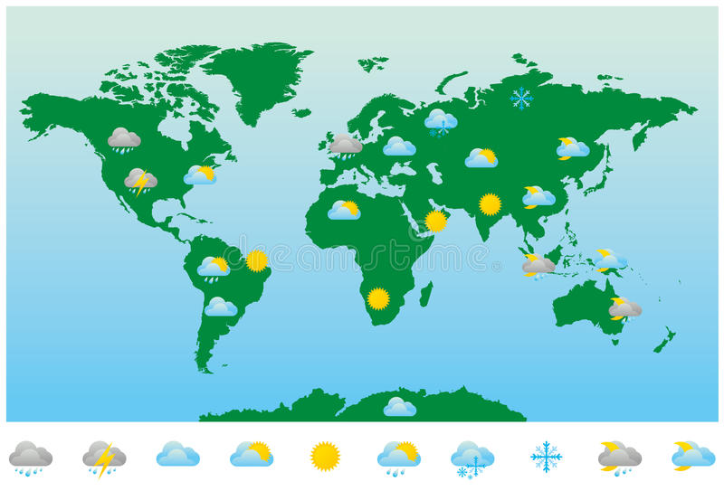 Χάρτης και εικονίδια παγκόσμιας πρόγνωσης καιρού ελεύθερη απεικόνιση δικαιώματος