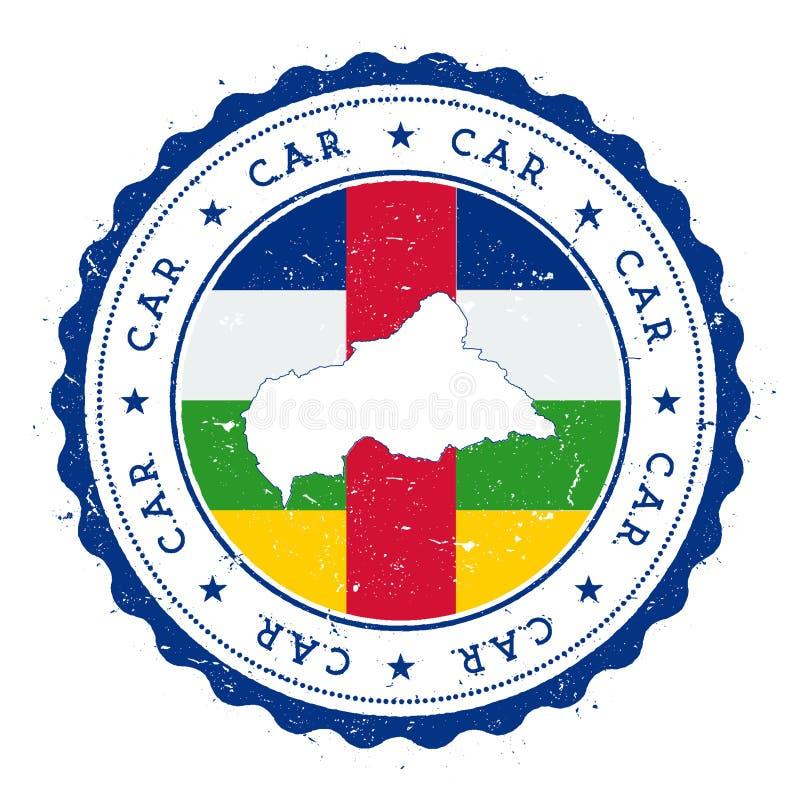 Χάρτης και σημαία Κεντροαφρικανικής Δημοκρατίας στον τρύγο ελεύθερη απεικόνιση δικαιώματος