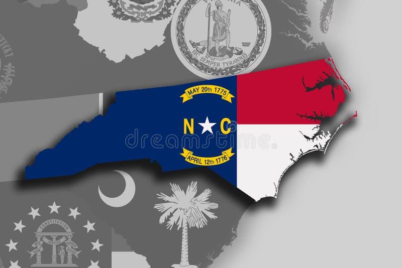 Χάρτης και σημαία της βόρειας Καρολίνας διανυσματική απεικόνιση
