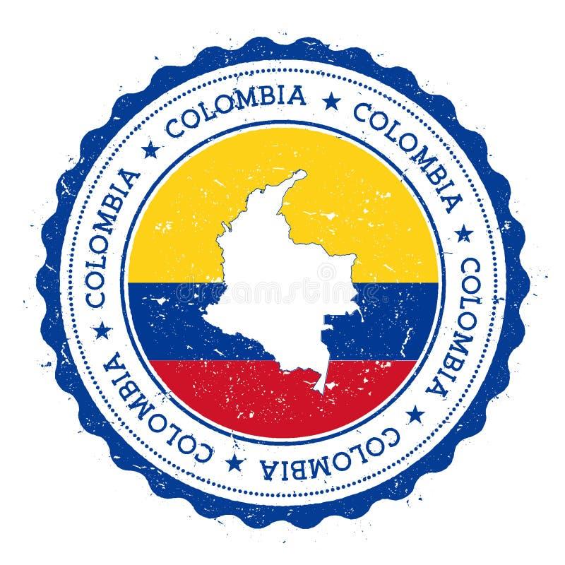 Χάρτης και σημαία της Κολομβίας στην εκλεκτής ποιότητας σφραγίδα απεικόνιση αποθεμάτων