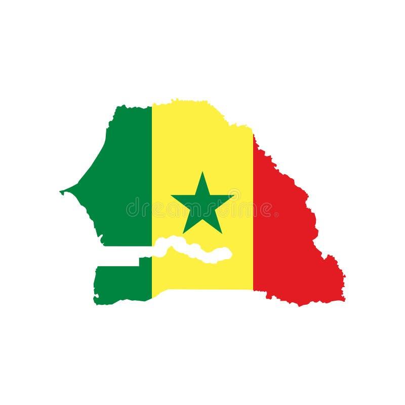 Χάρτης και σημαία της Σενεγάλης ελεύθερη απεικόνιση δικαιώματος