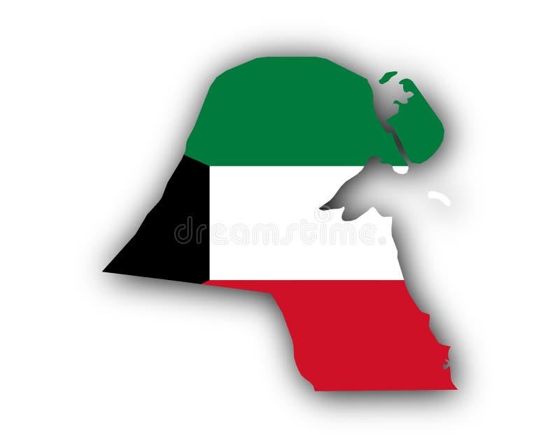 Χάρτης και σημαία του Κουβέιτ διανυσματική απεικόνιση
