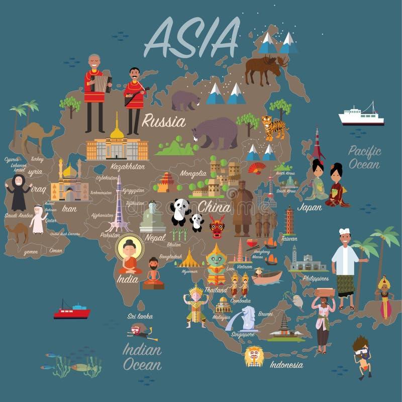 Χάρτης και ταξίδι της Ασίας διανυσματική απεικόνιση