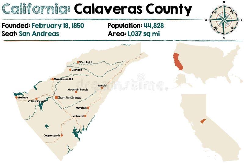 Χάρτης Καλιφόρνιας - νομών Calaveras διανυσματική απεικόνιση