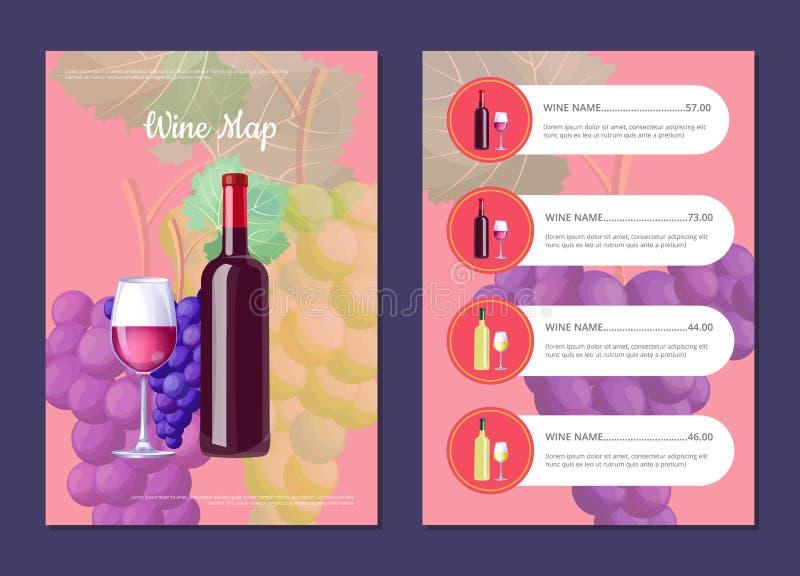 Χάρτης κρασιού με το πλήρες μπουκάλι στον τιμοκατάλογο κάλυψης και ελεύθερη απεικόνιση δικαιώματος
