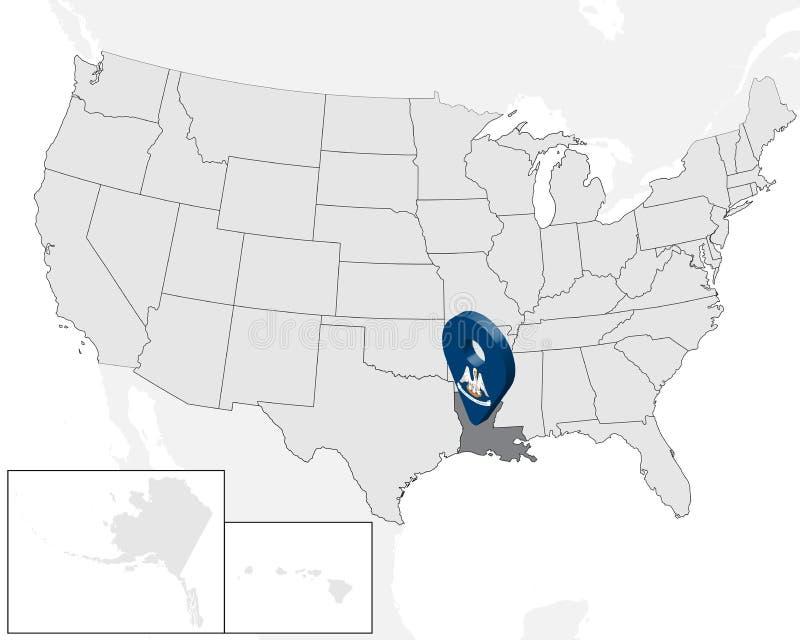 Χάρτης Λουιζιάνα θέσης στο χάρτη ΗΠΑ r τρισδιάστατο σημάδι geolocation όπως τη σημαία του κράτους Λουιζιάνα Υψηλός - ποιοτικός χά διανυσματική απεικόνιση
