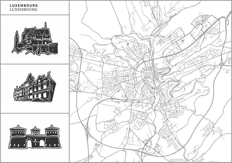 Χάρτης λουξεμβούργιων πόλεων με τα hand-drawn εικονίδια αρχιτεκτονικής ελεύθερη απεικόνιση δικαιώματος