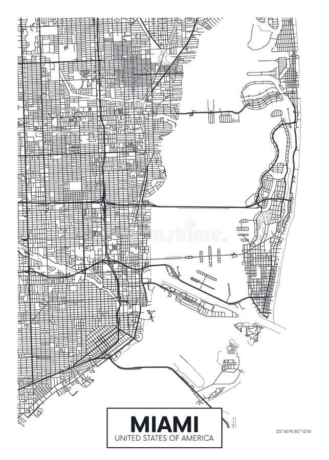 Χάρτης Μαϊάμι, διανυσματικό σχέδιο πόλεων αφισών ταξιδιού απεικόνιση αποθεμάτων