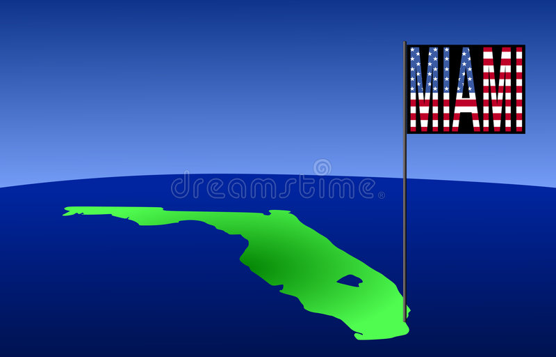 χάρτης Μαϊάμι της Φλώριδας διανυσματική απεικόνιση