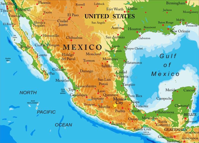 Χάρτης Μεξικό-ανακούφισης απεικόνιση αποθεμάτων