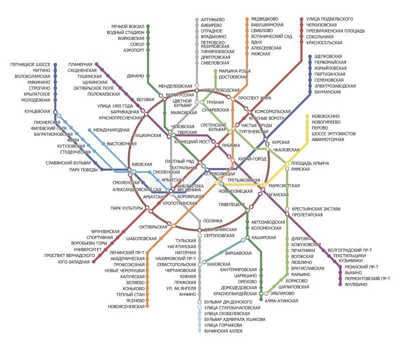 Χάρτης μετρό της Μόσχας απεικόνιση αποθεμάτων