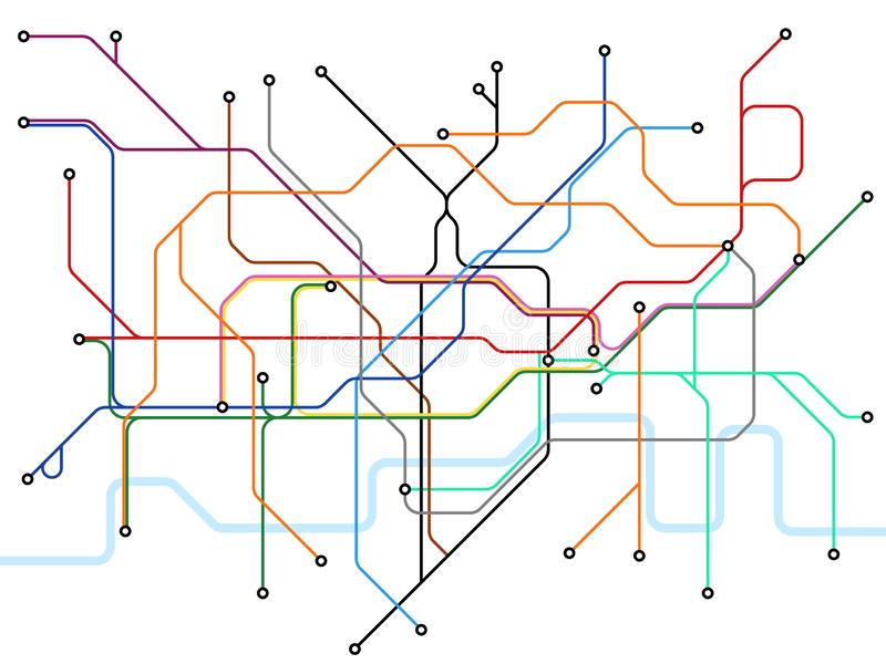 Χάρτης Μετρό του Λονδίνου Σχέδιο δημόσιου μέσου μεταφοράς υπογείων Διανυσματικό σχέδιο βρετανικών σταθμών τρένου διανυσματική απεικόνιση