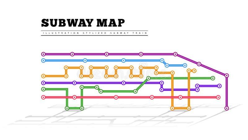 Χάρτης μετρό υπό μορφή τραίνου ελεύθερη απεικόνιση δικαιώματος