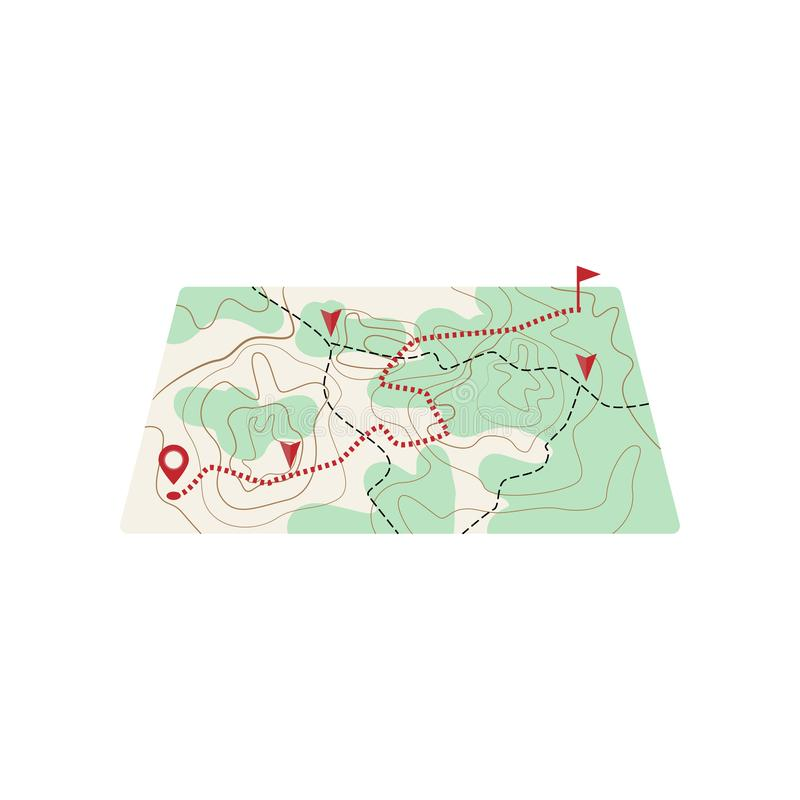 Χάρτης με τη διαδρομή διαστιγμένων γραμμών στη θέση του προορισμού απεικόνιση αποθεμάτων