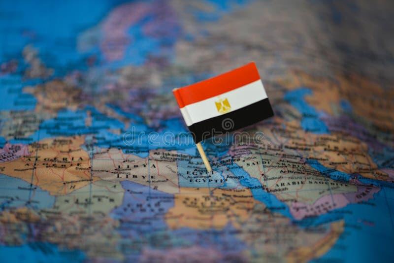 Χάρτης με τη σημαία της Αιγύπτου στοκ εικόνες