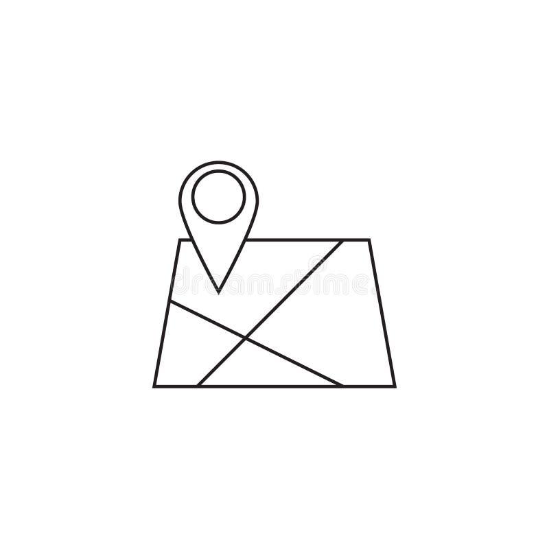 Χάρτης με το εικονίδιο γραμμών δεικτών καρφιτσών, διανυσματικό λογότυπο περιλήψεων θέσης άρρωστο ελεύθερη απεικόνιση δικαιώματος