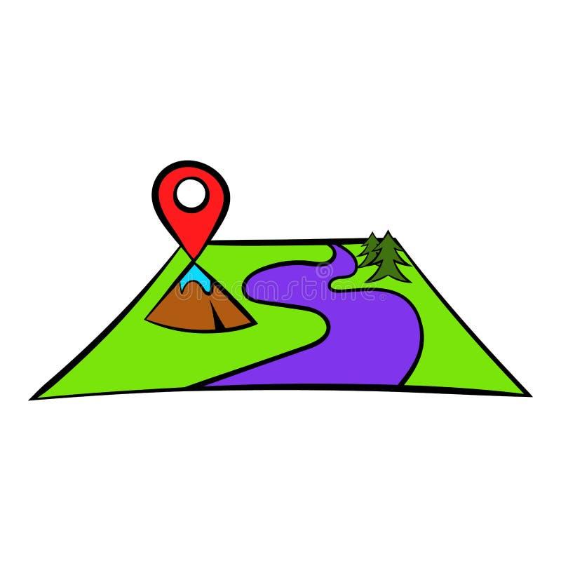 Χάρτης με το εικονίδιο δεικτών καρφιτσών, κινούμενα σχέδια εικονιδίων απεικόνιση αποθεμάτων