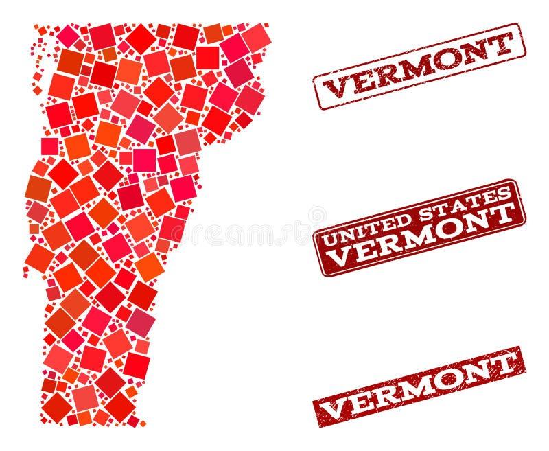 Χάρτης μωσαϊκών του κράτους του Βερμόντ και του κατασκευασμένου κολάζ σχολικών σφραγίδων διανυσματική απεικόνιση