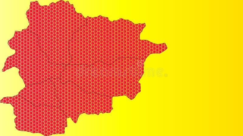 Χάρτης μωσαϊκών χτενών μελιού της Ανδόρας με τις χρωματισμένες hexagon μορφές διανυσματική απεικόνιση