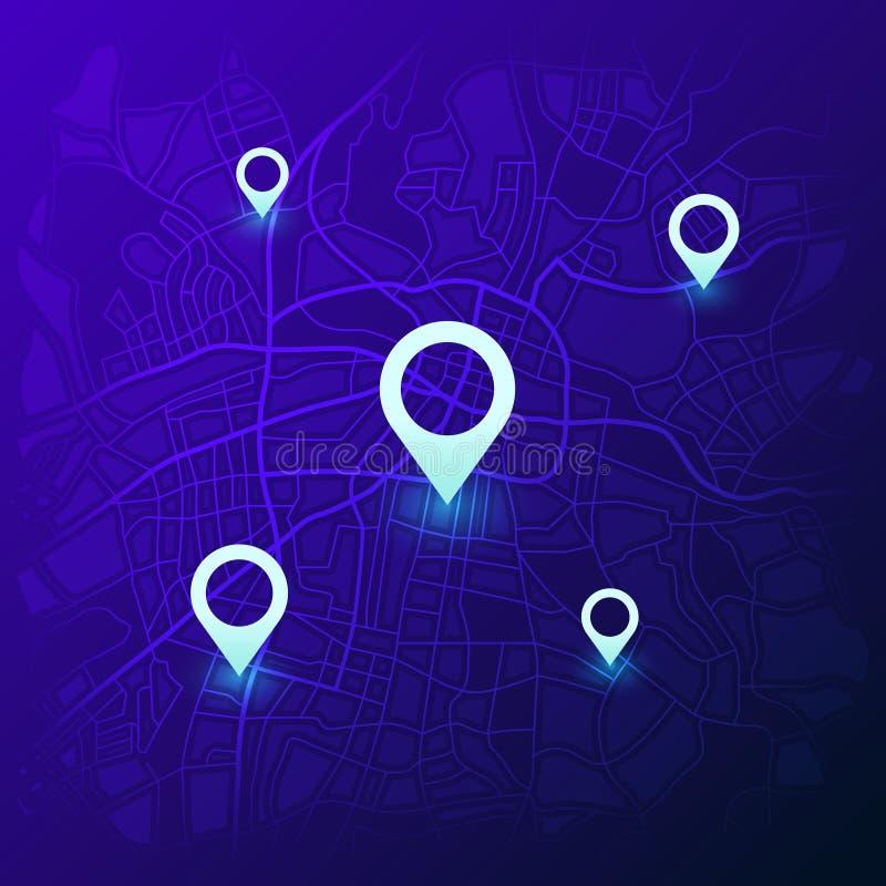 Χάρτης ναυσιπλοΐας πόλεων Ο φουτουριστικός πλοηγός θέσης ΠΣΤ, χάρτες ταξιδιού με τις καρφίτσες και πλοηγεί το διάνυσμα οδικών εντ διανυσματική απεικόνιση