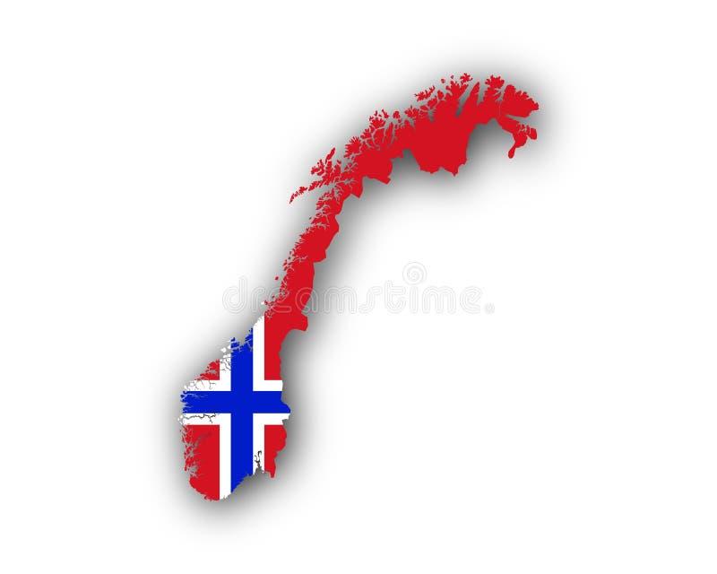 χάρτης Νορβηγία σημαιών ελεύθερη απεικόνιση δικαιώματος