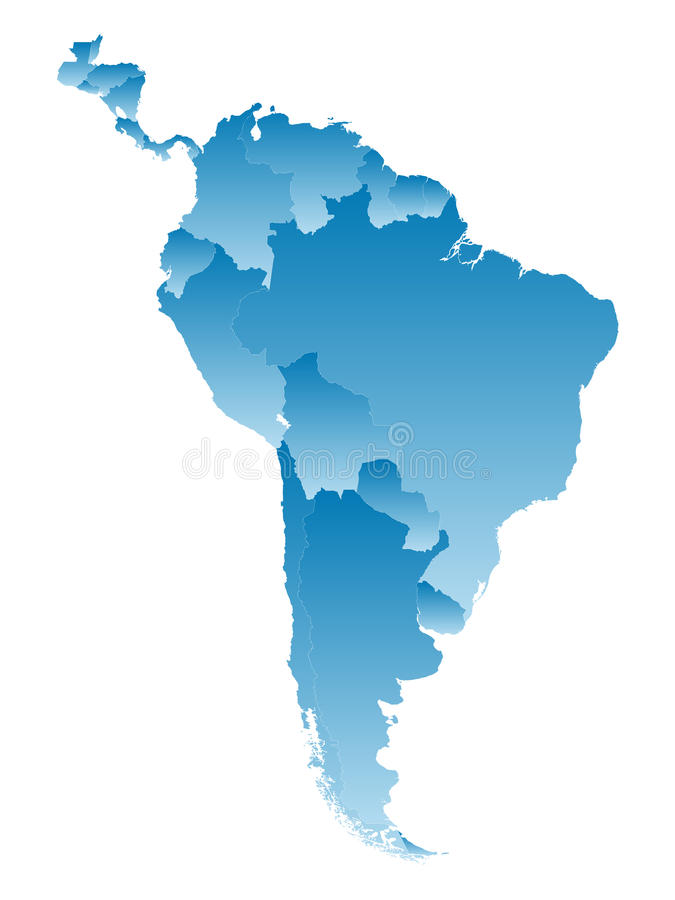 Χάρτης Νότια Αμερική διανυσματική απεικόνιση