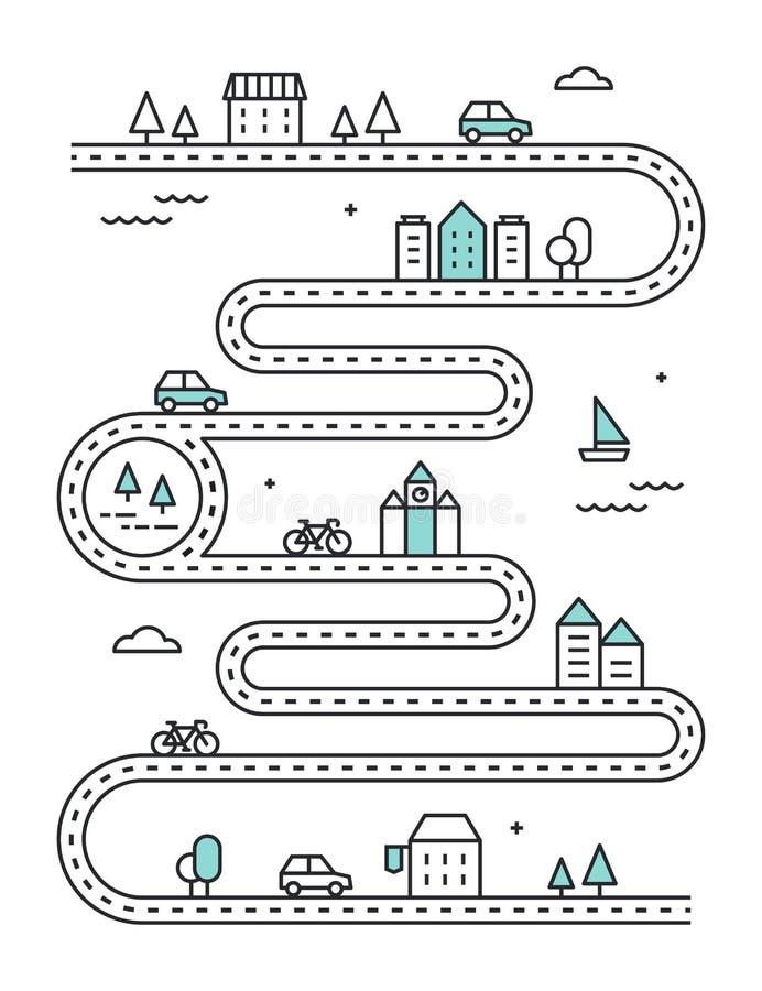Χάρτης οδικού Illudtrated με τα πόλης κτήρια και τη μεταφορά Διανυσματικό infographic σχέδιο ελεύθερη απεικόνιση δικαιώματος