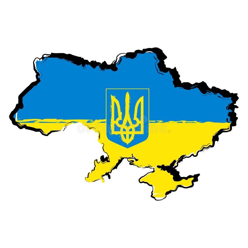 χάρτης Ουκρανία σημαιών διανυσματική απεικόνιση