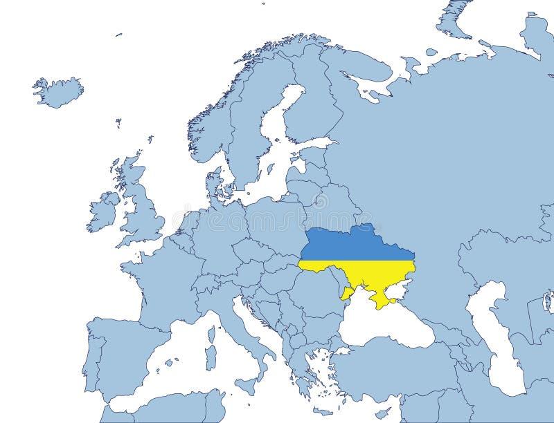 χάρτης Ουκρανία της Ευρώπης απεικόνιση αποθεμάτων
