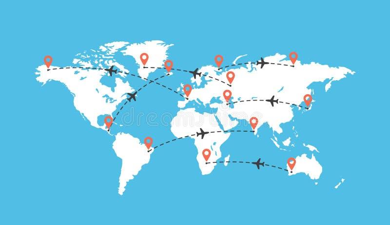 Χάρτης παγκόσμιου ταξιδιού με την απεικόνιση αεροπλάνων Γήινος χάρτης με το ίχνος αεροσκαφών Πορείες πτήσης αεροπλάνων απεικόνιση αποθεμάτων