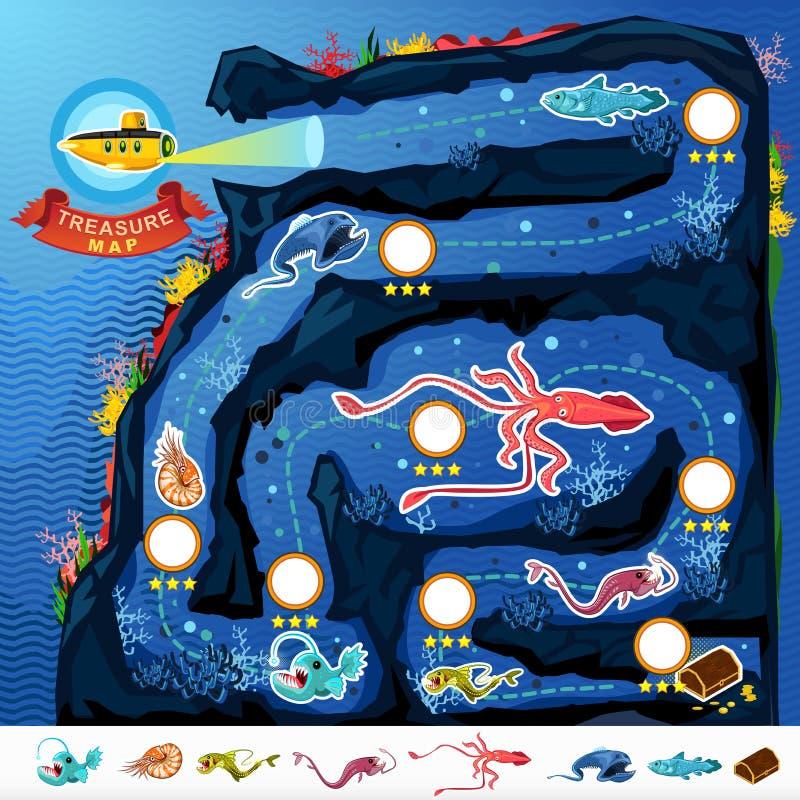 Χάρτης παιχνιδιών θησαυρών εξερεύνησης μεγάλων θαλασσίων βαθών διανυσματική απεικόνιση