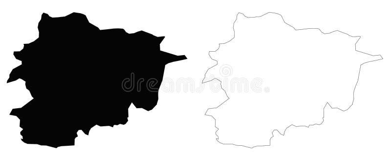 Χάρτης περιλήψεων της Ανδόρας διανυσματική απεικόνιση