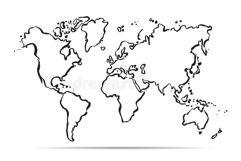 Χάρτης περιλήψεων του κόσμου επίσης corel σύρετε το διάνυσμα απεικόνισης ελεύθερη απεικόνιση δικαιώματος