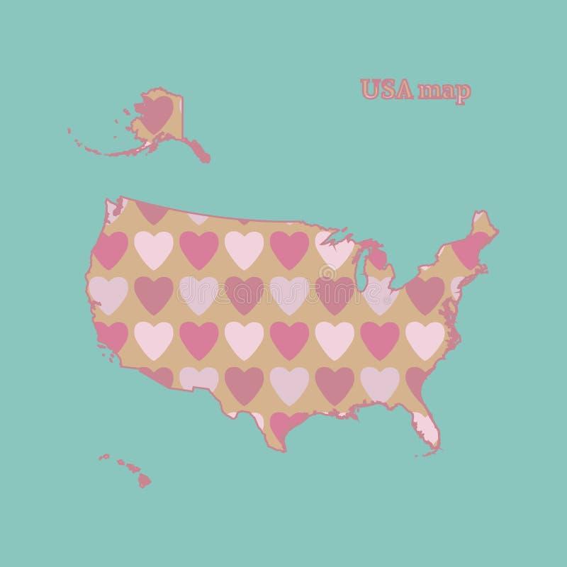 Χάρτης περιλήψεων των ΗΠΑ με μια σύσταση των ρόδινων και κόκκινων καρδιών Isolat διανυσματική απεικόνιση