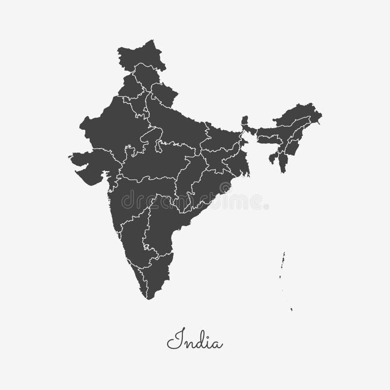 Χάρτης περιοχών της Ινδίας: γκρίζα περίληψη στο λευκό διανυσματική απεικόνιση