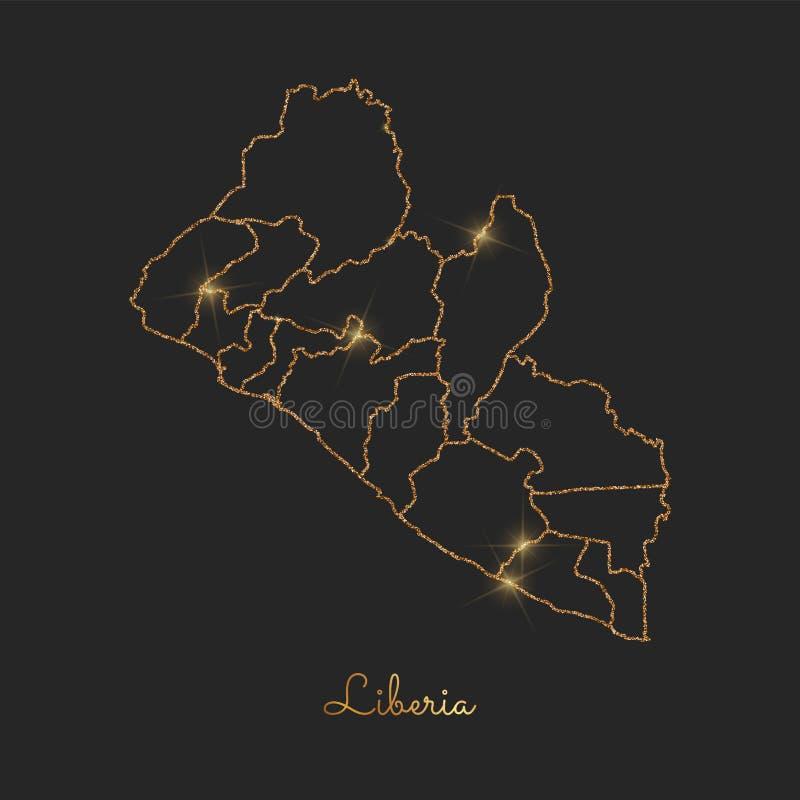 Χάρτης περιοχών της Λιβερίας: χρυσός ακτινοβολήστε περίληψη με απεικόνιση αποθεμάτων
