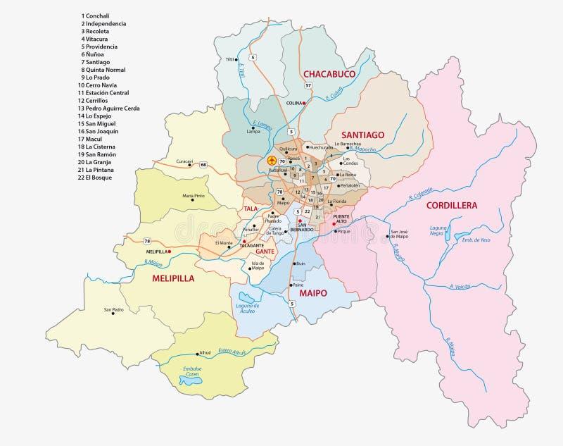 Χάρτης περιοχών του Σαντιάγο (Χιλή) μητροπολιτικός διανυσματική απεικόνιση