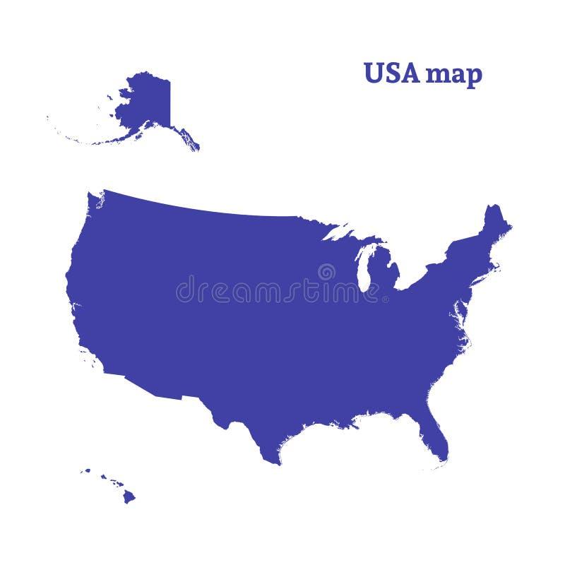 Χάρτης περιλήψεων των ΗΠΑ Απομονωμένη διανυσματική απεικόνιση ελεύθερη απεικόνιση δικαιώματος