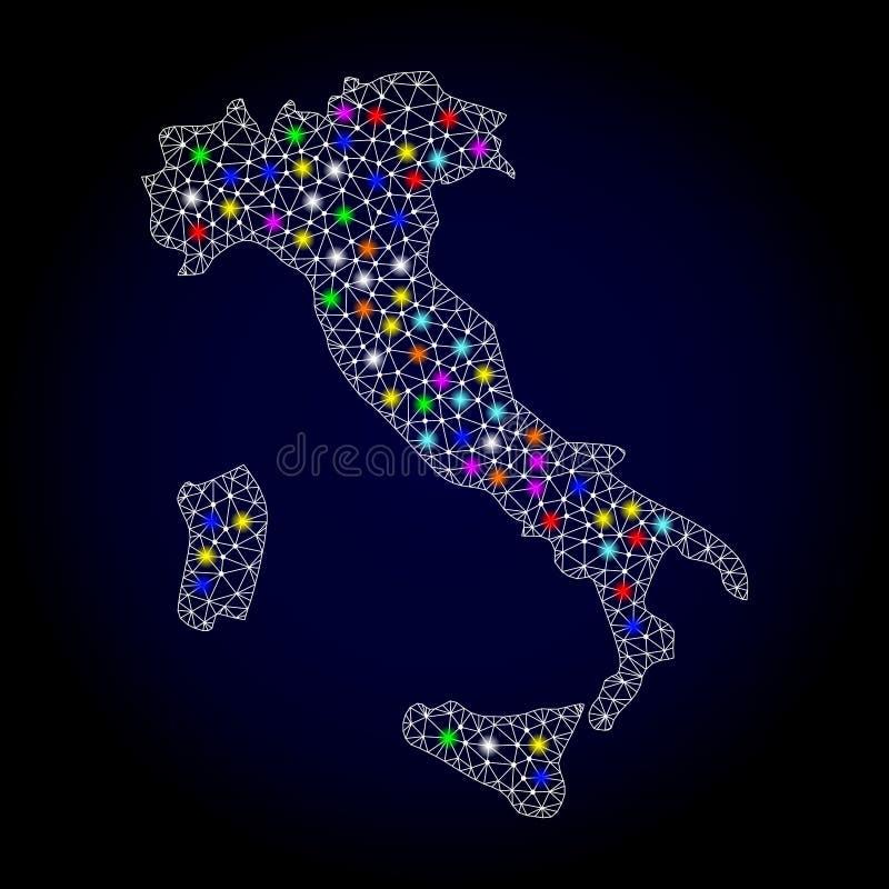 Χάρτης πλαισίων καλωδίων πλέγματος της Ιταλίας με τα ζωηρόχρωμα ελαφριά σημεία ελεύθερη απεικόνιση δικαιώματος