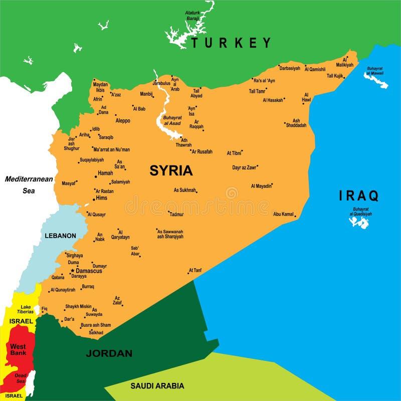 χάρτης πολιτική Συρία διανυσματική απεικόνιση