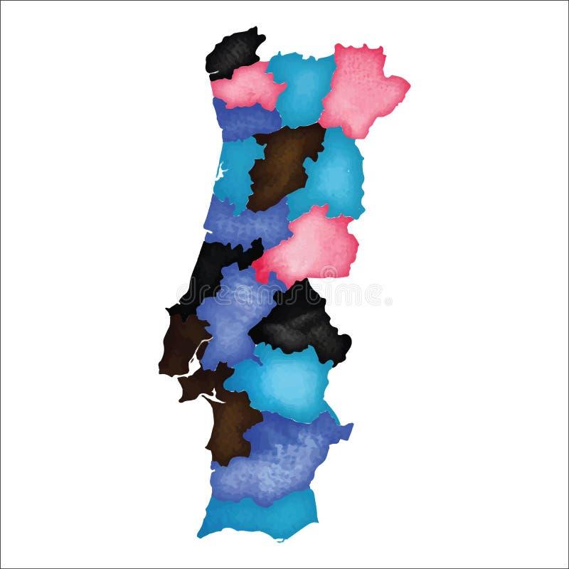 χάρτης Πορτογαλία Ζωηρόχρωμο watercolor Πορτογαλία ελεύθερη απεικόνιση δικαιώματος