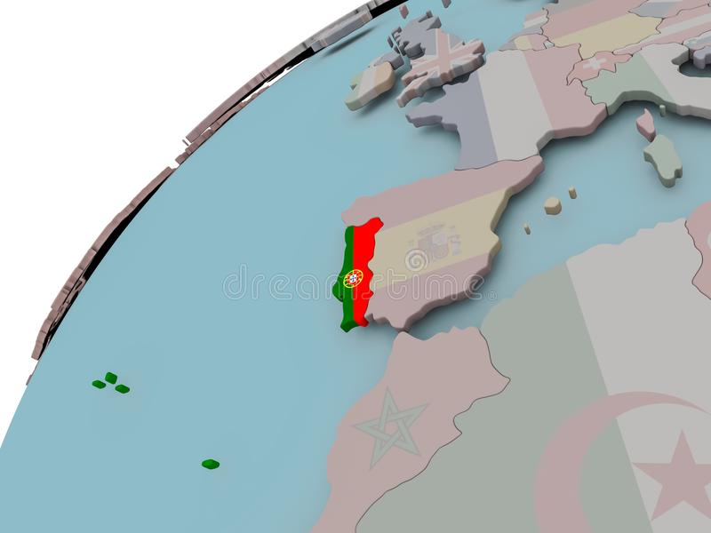 χάρτης Πορτογαλία σημαιών διανυσματική απεικόνιση